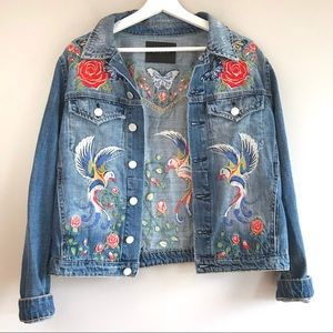 Jean embroidered denim jacket Blank NYC distressed